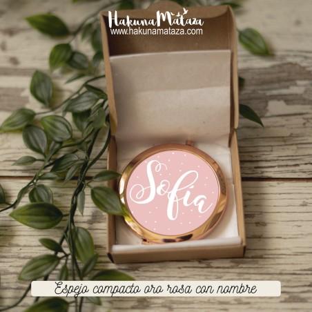 Espejo compacto oro rosa - Nombre/fecha
