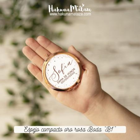 Espejo compacto oro rosa - Boda 01