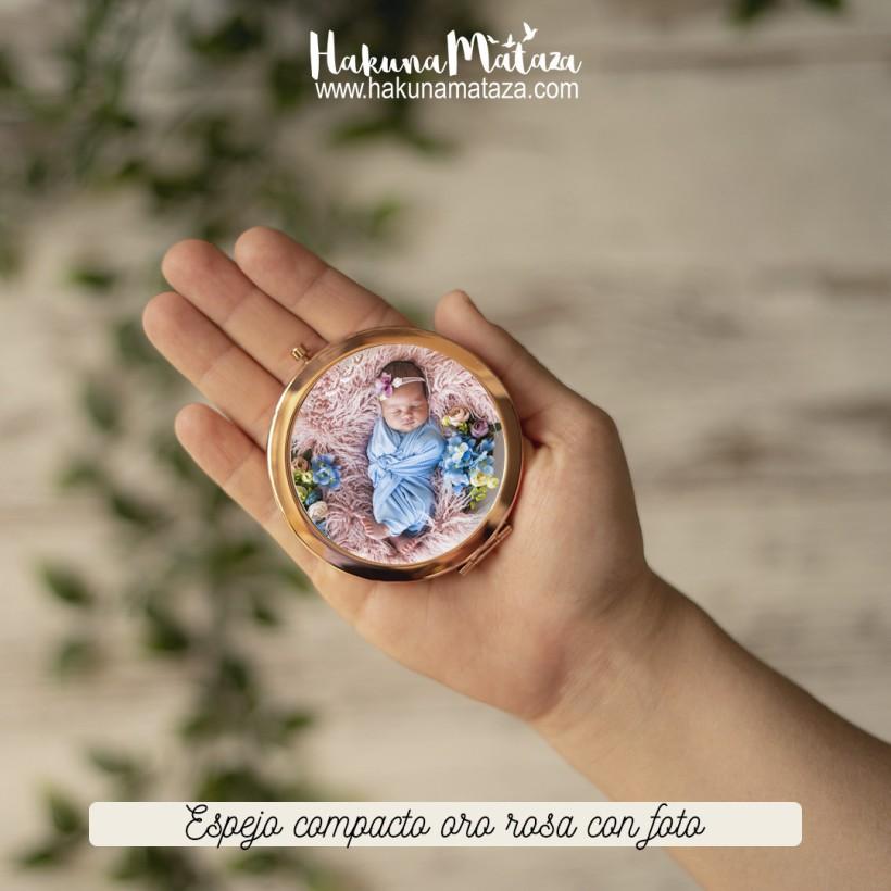 Espejo compacto oro rosa - Foto