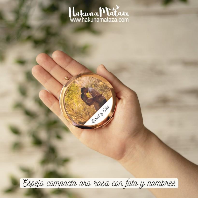 Espejo compacto oro rosa - Foto y nombre