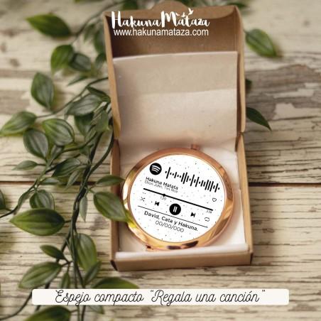 Espejo compacto oro rosa - Regala una canción